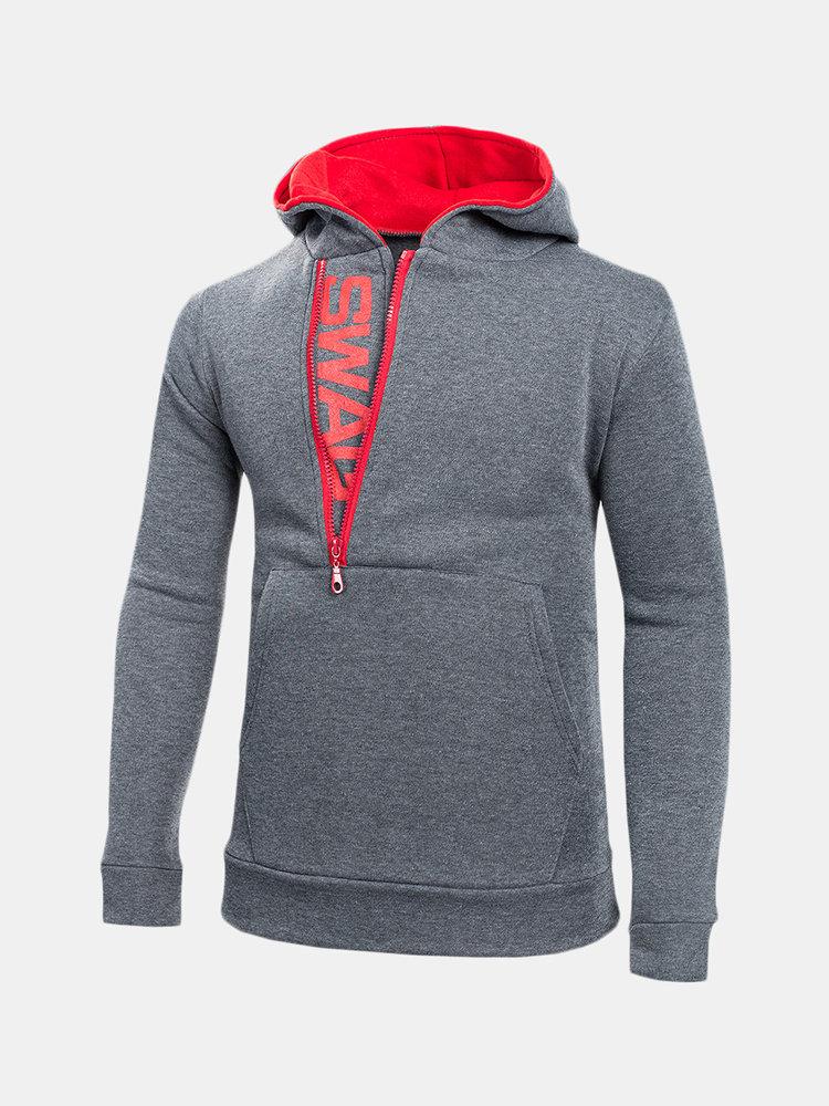 Mens Side Zipper Collar Design Hooded Long Sleeve Sweatshirt Hoodie