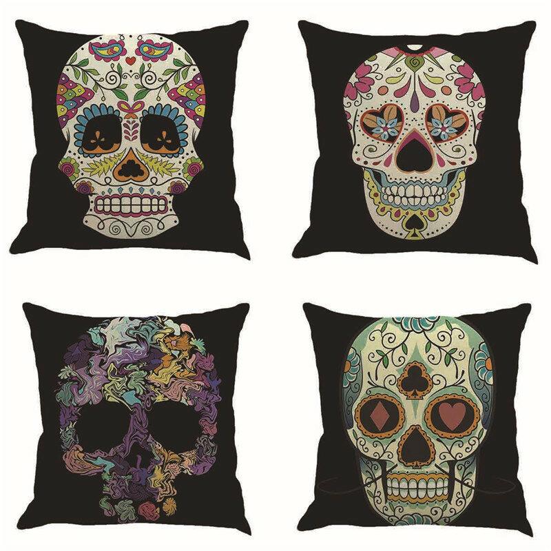 Skull Pattern Soft Linen Cushion Cover Black Design Halloween Style Pillowcase For Home Car Decor