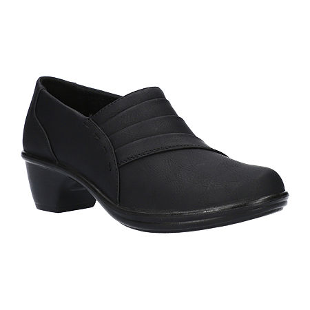 Easy Street Womens Louisa Clogs, 8 1/2 Wide, Black