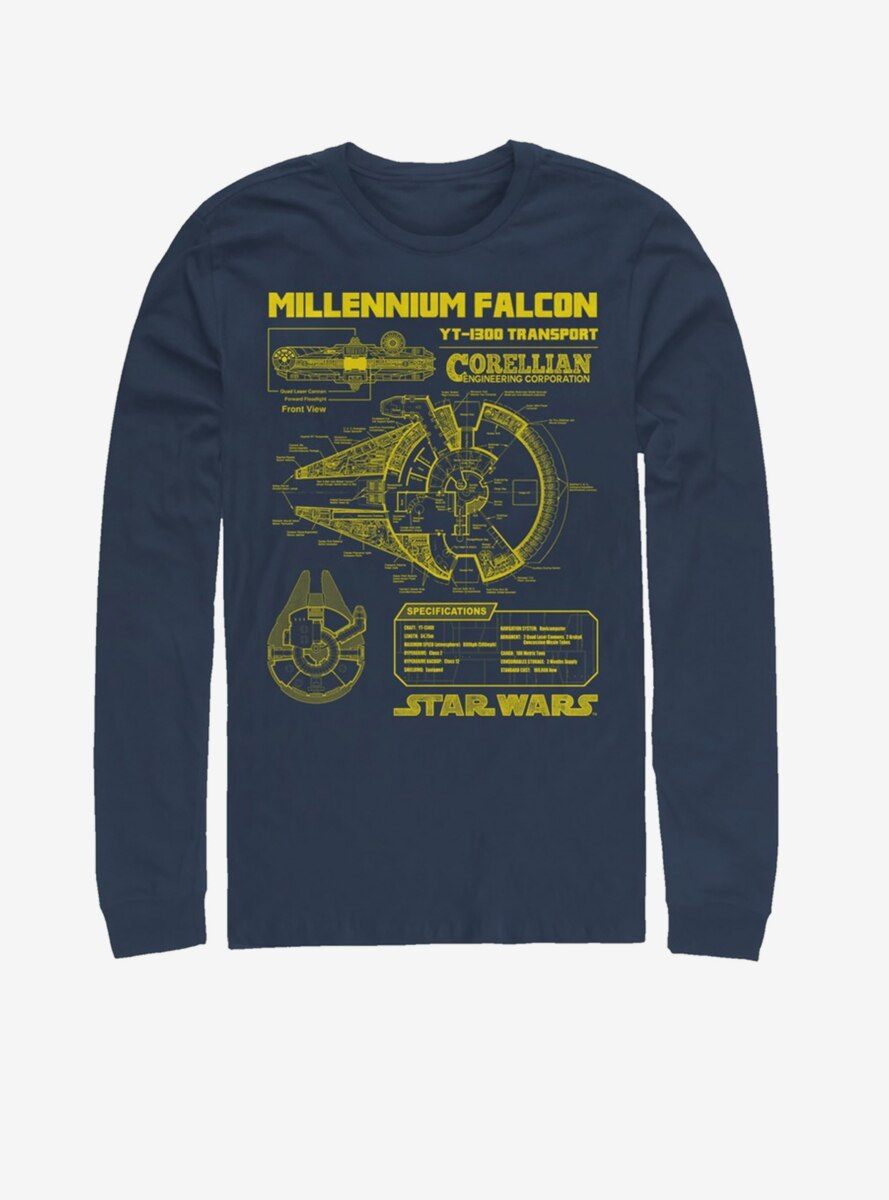 Star Wars Falcon Schematic Long-Sleeve T-Shirt