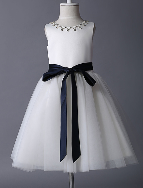 Milanoo Ivory Satin And Tulle Rhinestone Flower Girl Dress With Navy Blue Sash