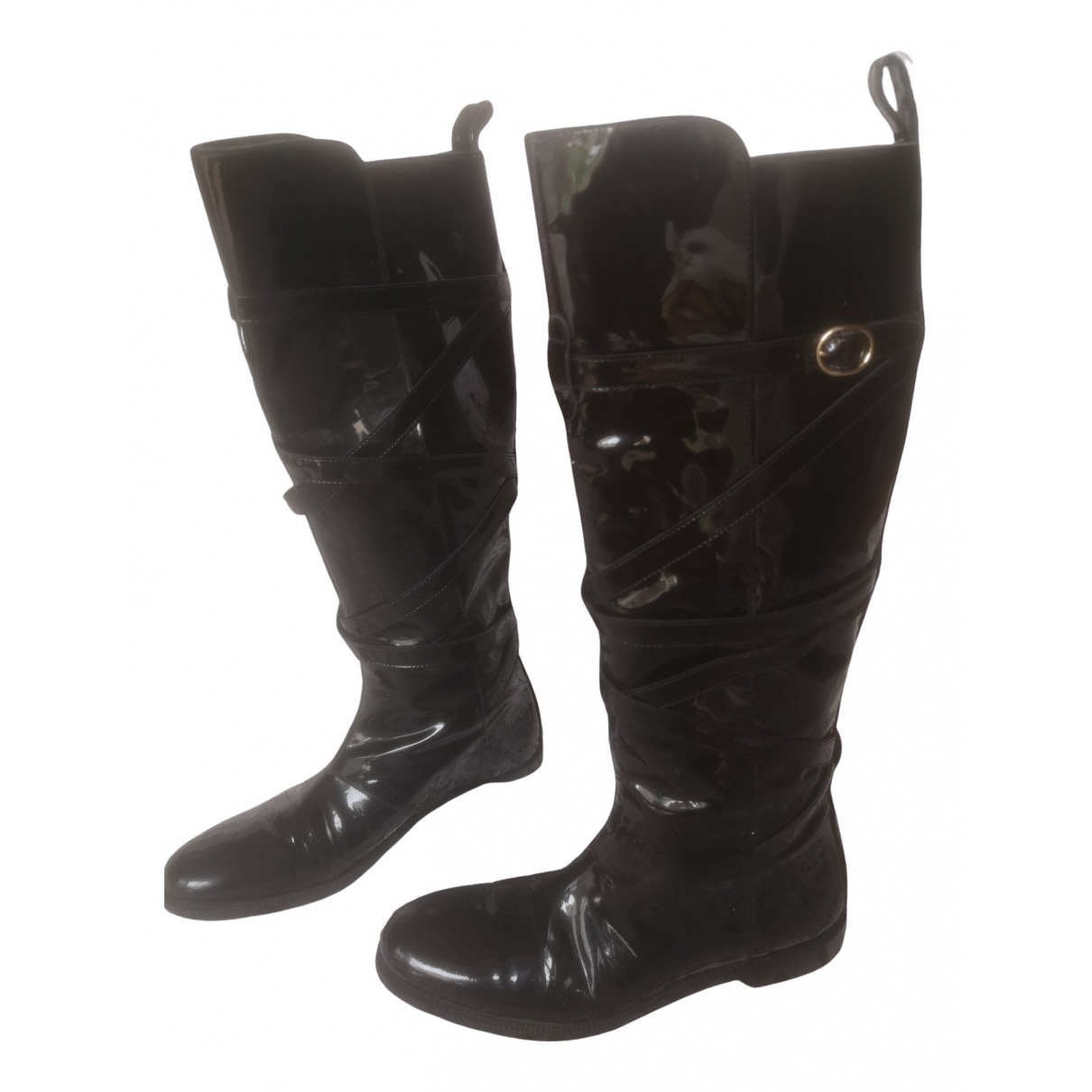 Yves Saint Laurent \N Black Patent leather Boots for Women 34.5 IT