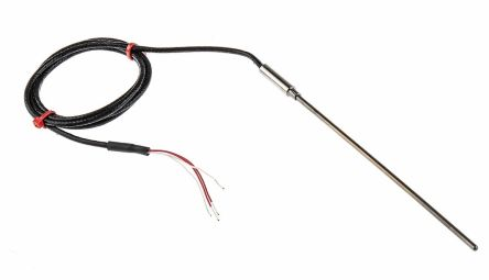 RS PRO 4 wire PT100 Sensor, -50°C min +500°C max, 150mm Probe Length x 3mm Probe Diameter