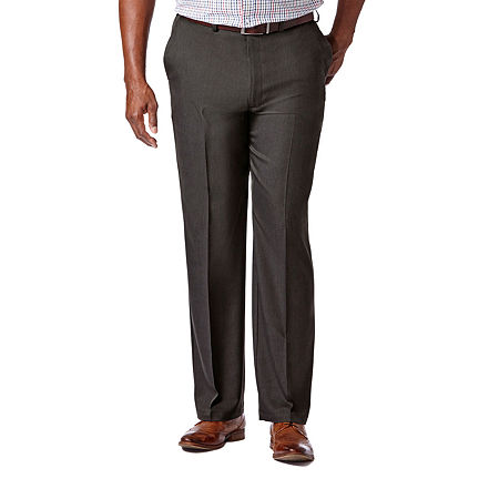 Haggar Cool 18 Pro Flat Front Pant- Big & Tall, 52 32, Black