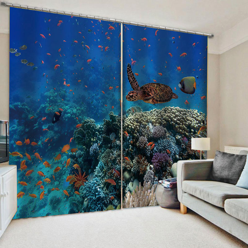 Colorful Tropical Undersea World Sea Turtles Fish Printed Blackout Window Curtains for Living Room No Pilling No Fading No off-lining Drapes Blocks Ou