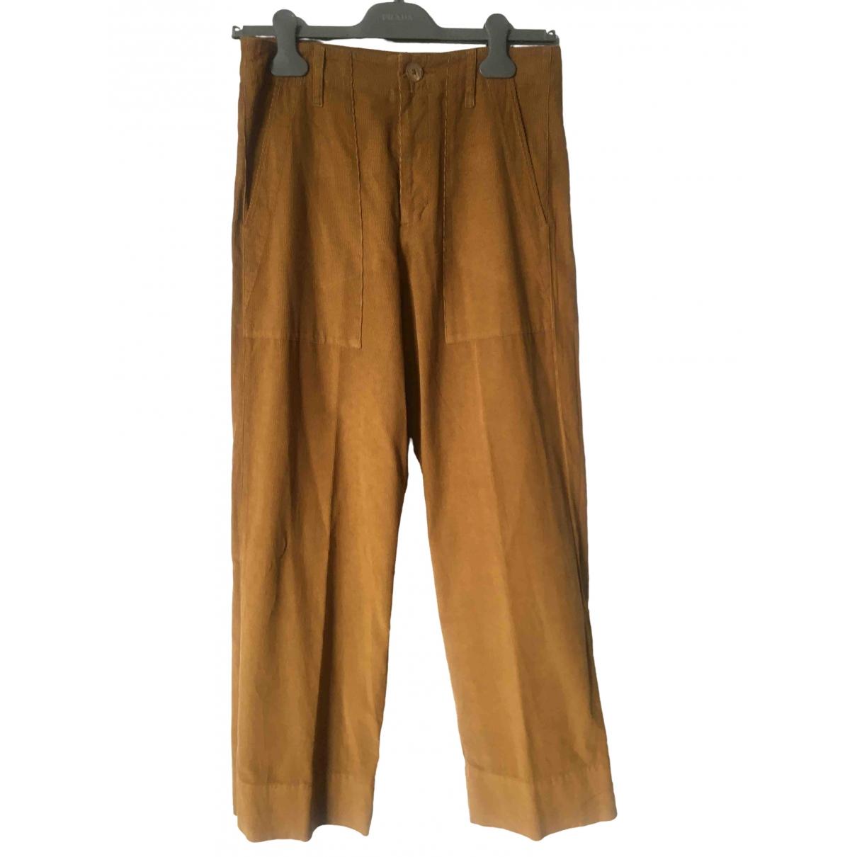 Velvet \N Yellow Cotton Trousers for Women S International