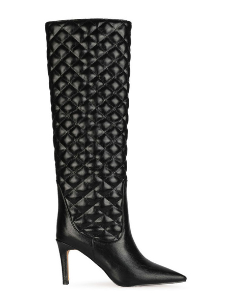Milanoo Knee High Boots Black PU Leather Pointed Toe Stiletto Heel Woman Knee Length Boots