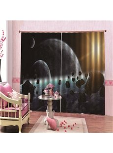 Fantastic Universe and the Earth Printed Blackout Decorative 3D Scenery Curtains