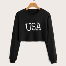 Drop Shoulder Letter Graphic Crop Sweatshirt