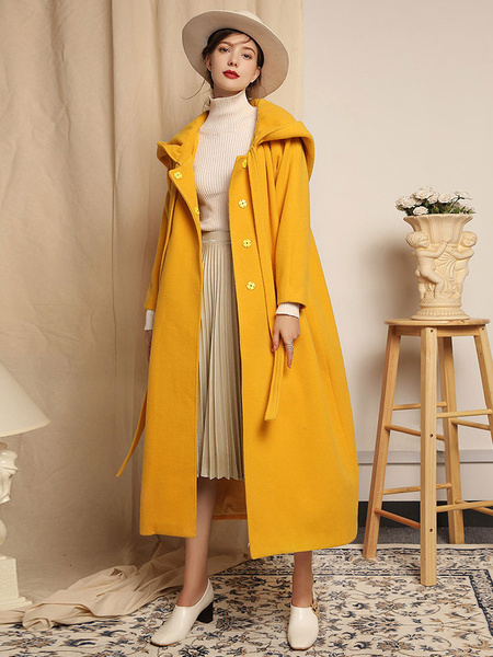 Milanoo Women Coat Yellow Oversized  Long Sleeves Hooded Ribbon Tie Winter Cocoon Coat