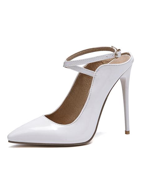 Milanoo Nude High Heels Pointed Toe Criss Cross Stiletto Heel Pumps Women Sexy Shoes