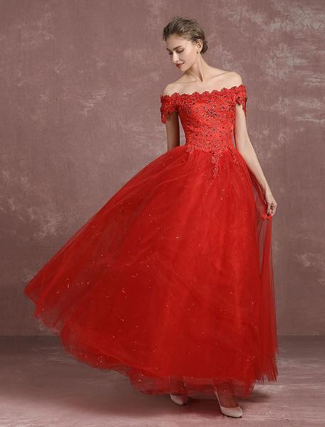 Milanoo Red Wedding Dress Ball Gown Lace Beading Bridal Dress Off The Shoulder Sequins Floor Length Maxi Princess Summer Wedding Dresses 2020