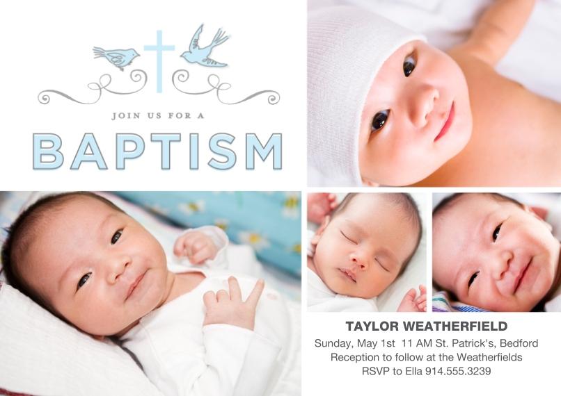 Baptism Invitations 5x7 Cards, Premium Cardstock 120lb, Card & Stationery -Baptism Doves Ribbon