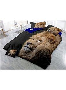 Lion Head Wear-resistant Breathable High Quality 60s Cotton 4-Piece 3D Bedding Sets