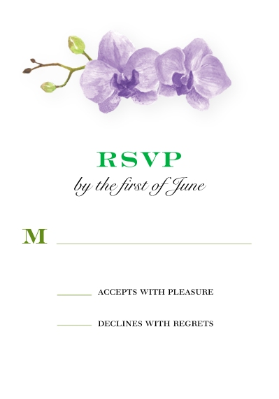 Matching Suites 3.5x5 Flat Notecard, Card & Stationery -Wedding RSVP Orchids by Tumbalina
