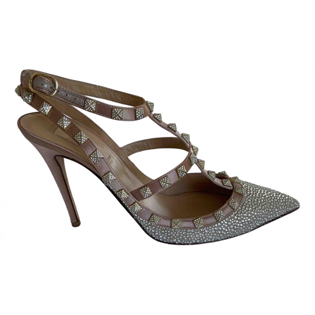 Valentino Garavani Rockstud Beige Glitter Heels for Women 39.5 IT