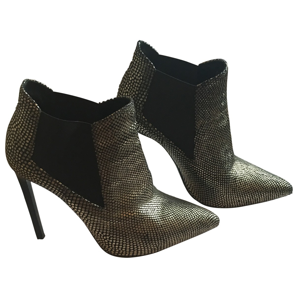 Saint Laurent \N Silver Leather Ankle boots for Women 36.5 EU
