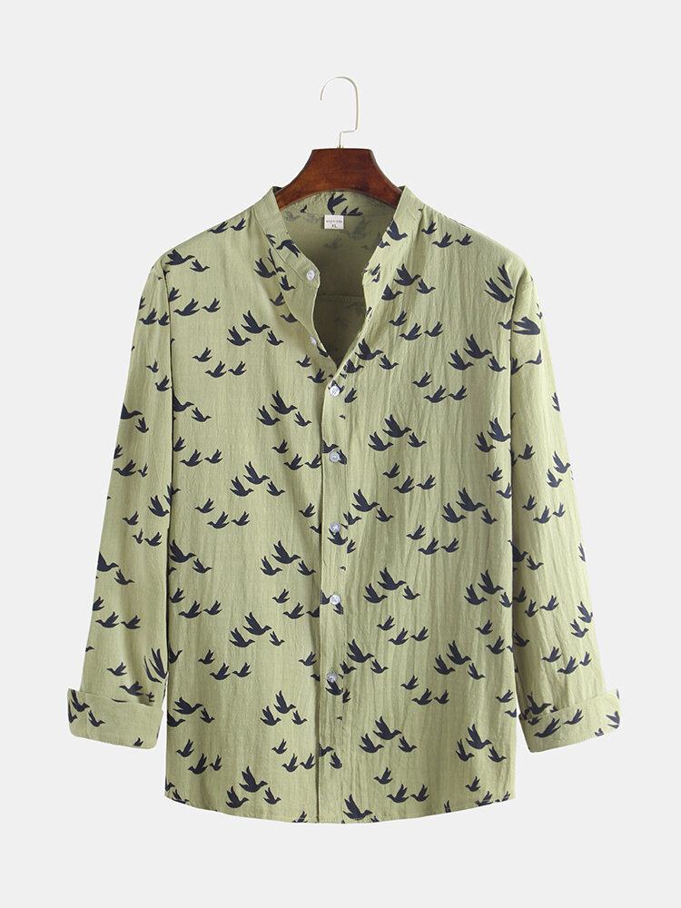 Mens Linen 3D Little Black Birds Printing Long Sleeve Stand Collar Shirt