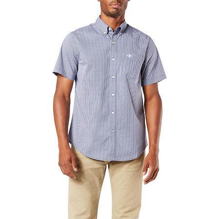 Dockers Mens Short Sleeve Plaid Button-Down Shirt, Medium , Blue