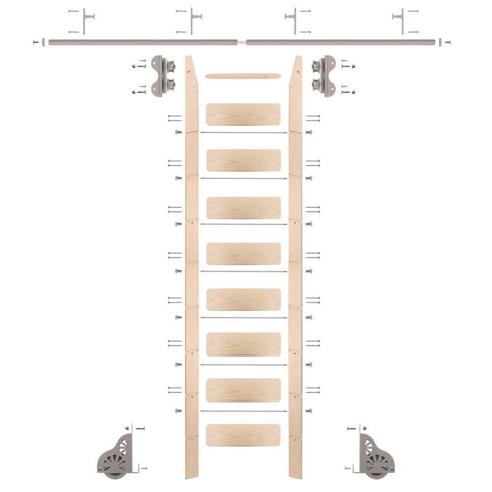 Standard Rolling 9-Foot Maple Ladder Kit with 8-Foot Rail and Vertical Brackets, Satin Nickel