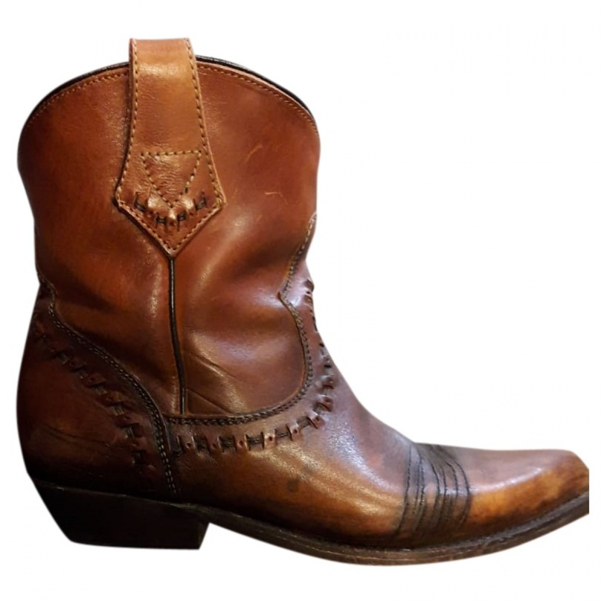 Ash \N Brown Leather Boots for Women 37 EU