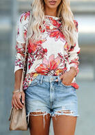 Floral Slit Knitted Long Sleeve T-Shirt Tee - Red