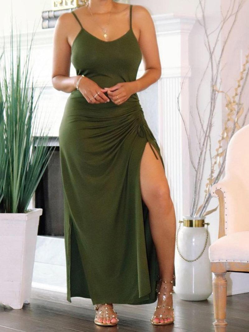 Ericdress Sleeveless Lace-Up Ankle-Length Plain Spaghetti Strap Dress