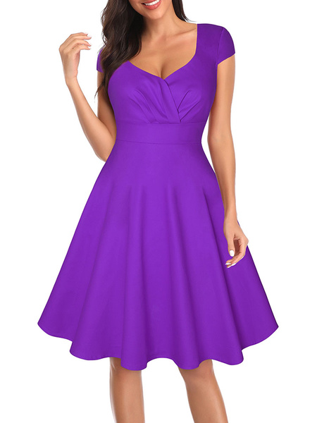 Milanoo Vintage Dress 1950s V Neck Short Sleeves Woman Rockabilly Dress