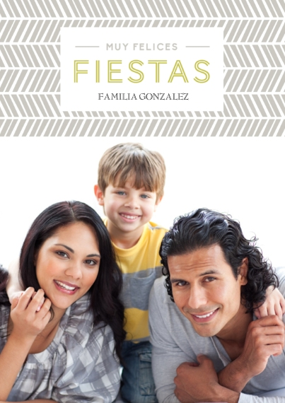 Christmas Photo Cards 5x7 Cards, Standard Cardstock 85lb, Card & Stationery -Felices Fiestas Chevron