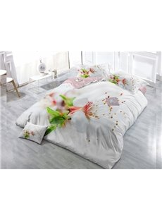 White Flower Wear-resistant Breathable High Quality 60s Cotton 4-Piece 3D Bedding Sets