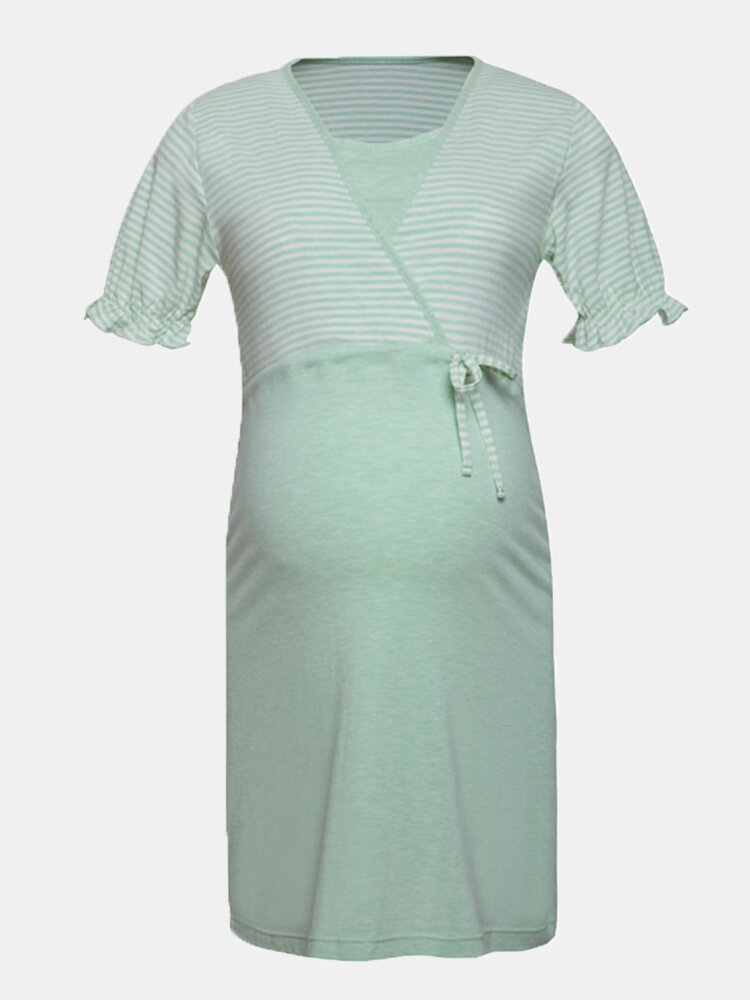 Maternity Striped Short Sleeves Front Open Loose Thin Pajama Casual Nursing Dress