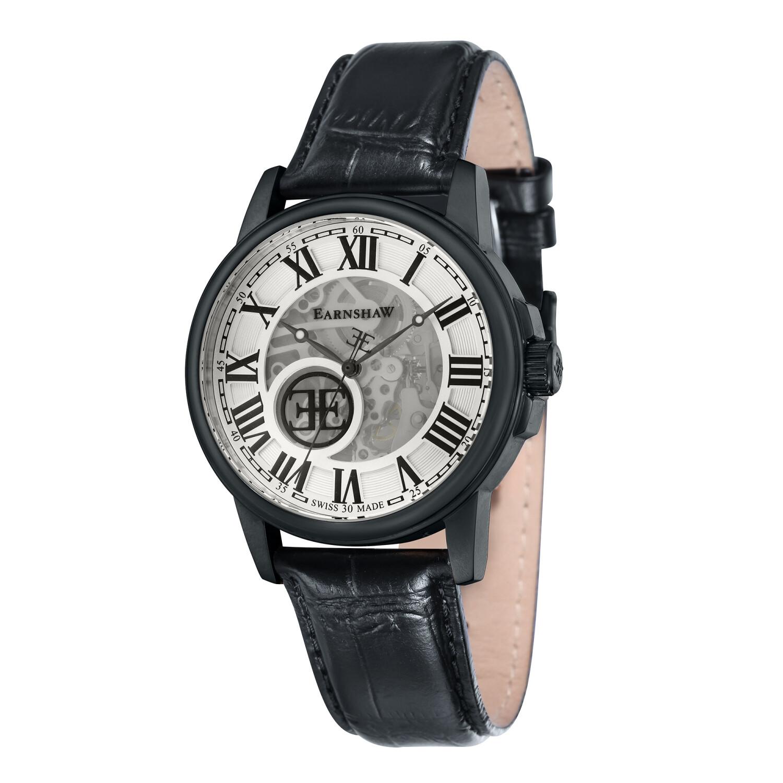 Thomas Earnshaw Men's Beagle ES-0028-03 Black Leather Swiss Automatic Dress Watch