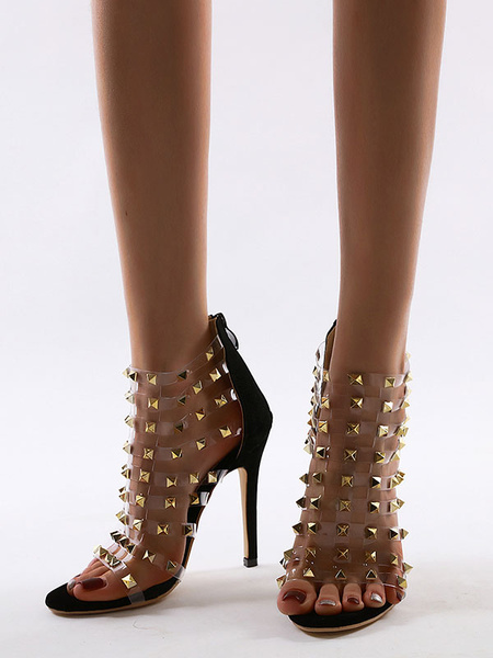 Milanoo Women\'s Summer Boots Peep Toe Stiletto Heel Chic Black Studed Summer Boots