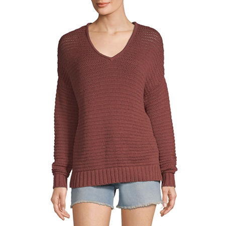 a.n.a Womens V Neck Long Sleeve Pullover Sweater, Xx-large , Red