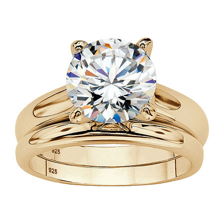 Womens 3 CT. T.W. White Cubic Zirconia 14K Gold Over Silver Bridal Set, 9 , No Color Family