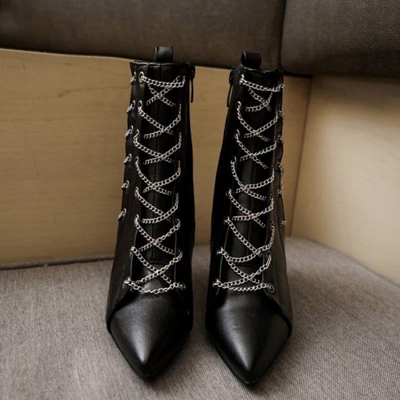 Ericdress Plain Stiletto Heel Pointed Toe Chain Boots