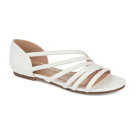 Journee Collection Womens Divina Strap Sandals, 11 Medium, White