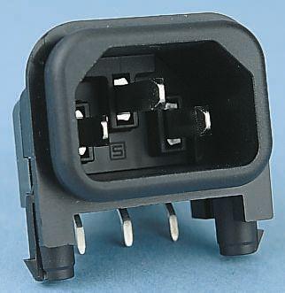 Schurter C14 Right Angle Panel Mount IEC Plug Male, 10A, 250 V