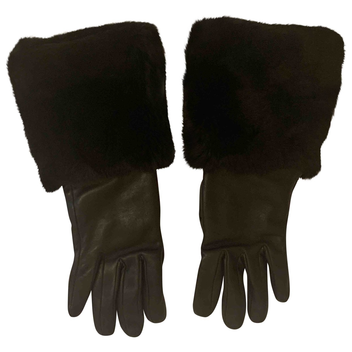 Lanvin \N Black Leather Gloves for Women 6.5 Inches