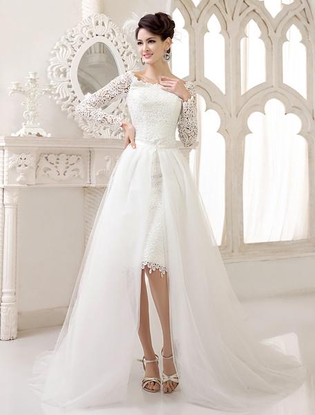 Milanoo Grace Ivory Bateau Neck Cut Out Lace Destination Wedding Dress