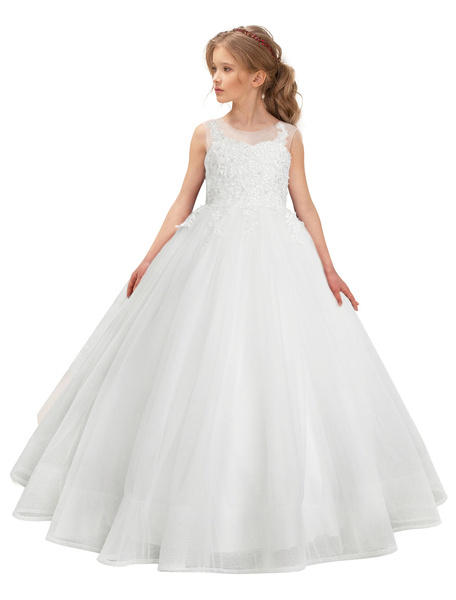 Milanoo White Flower Girl Dresses Princess Ball Gowns Lace Tulle Kids Pageant Party Dress