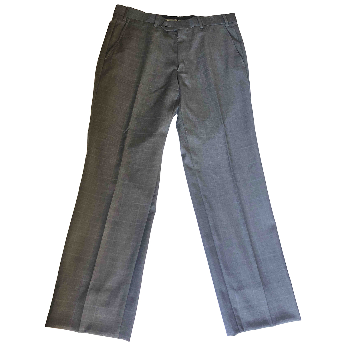 Armani Collezioni \N Anthracite Wool Trousers for Men 48 IT