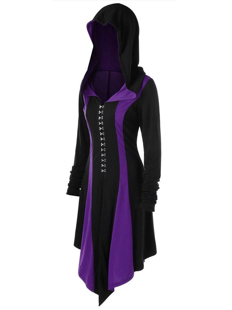 Ericdress Long Hooded Regular Long Sleeve Trench Coat