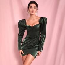 Sweetheart Gigot Sleeve Wrap Dress