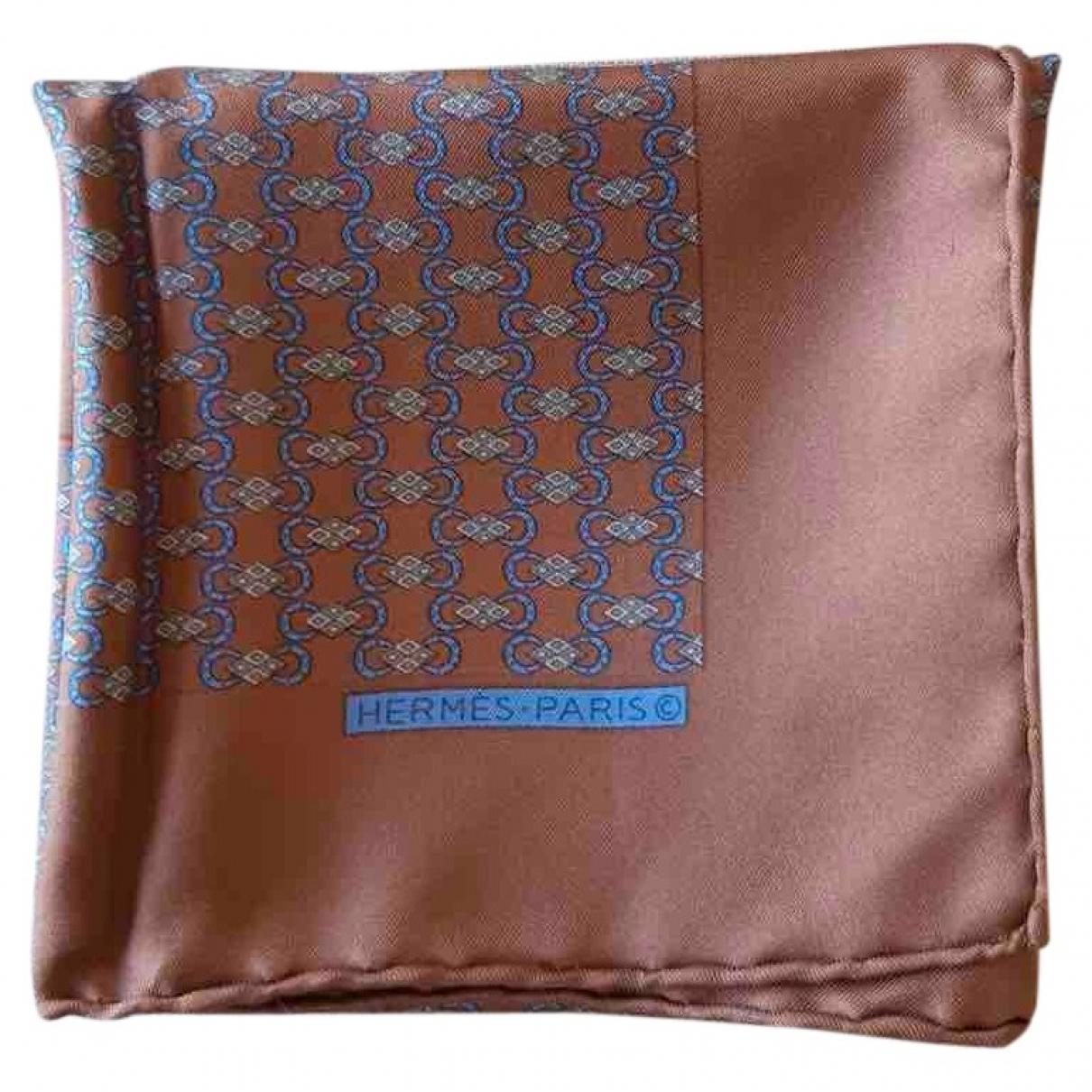 Hermès Pochette Brown Silk scarf & pocket squares for Men \N