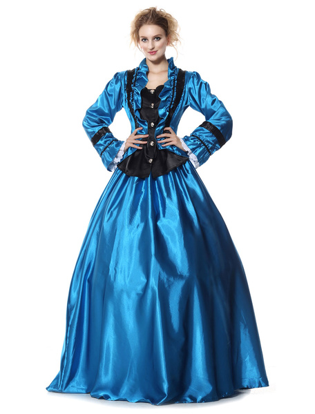 Milanoo Victorian Dress Costume Women's Retro Blue Long Sleeves Ball Gowns Victorian Era Clothing with hat Retro Costumes Halloween