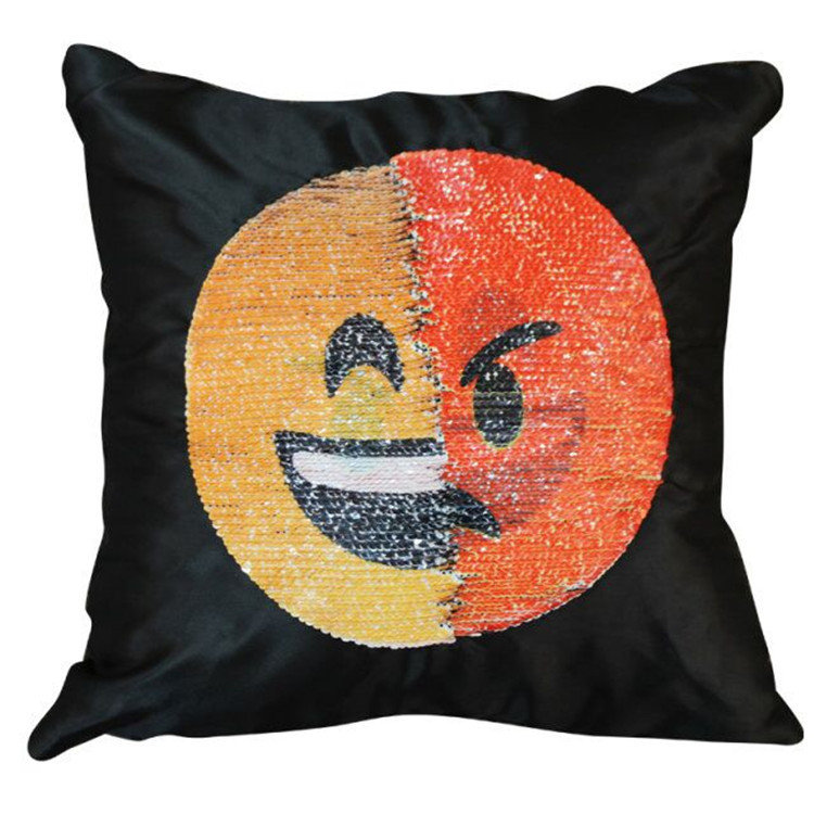 Cute DIY Changing Face Emoji Cushion Cover Decorative Pillows Sequin Pillow Case Smiley Face Cover