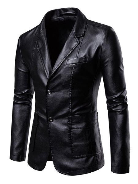 Milanoo Men Casual Blazer Notch Collar Pocket Two Button PU Leather Jacket