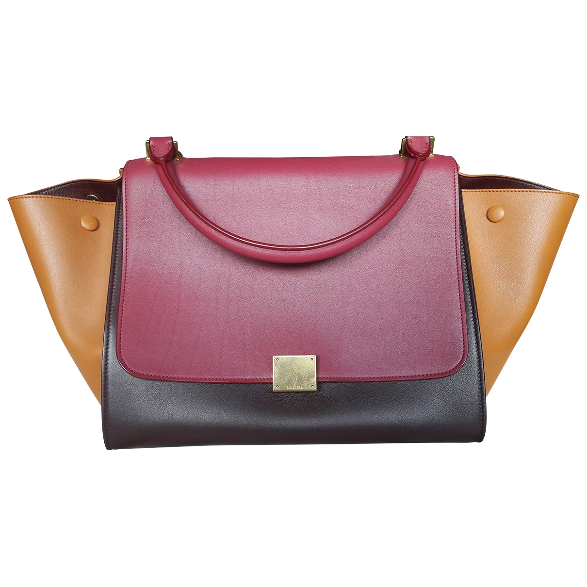 Celine Trapèze Burgundy Leather handbag for Women \N