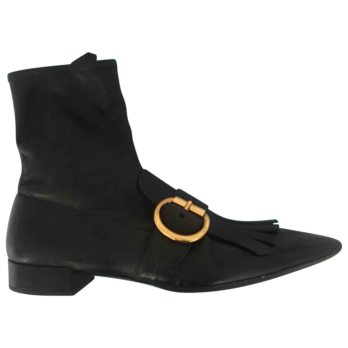 Prada \N Black Leather Ankle boots for Women 39.5 EU